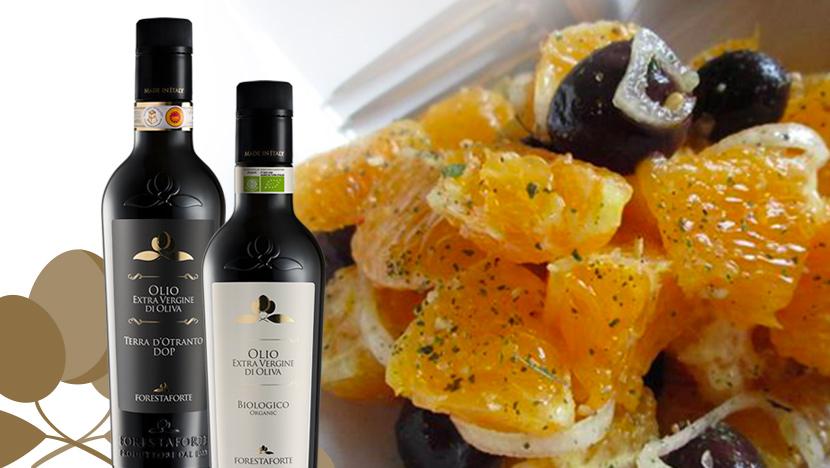 Bruschetta con arance, sedano e olive nere